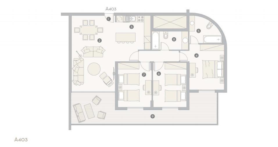 Bản vẽ thiết kế căn 3 phòng ngủ trong dự án Oasis Park